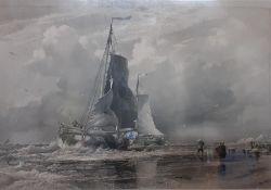 """""""Dutch Trawlers"""" a framed and glazed print, (56x75 cm)."""
