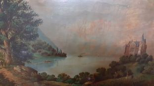 A pair of framed prints depicting continental landscapes, within a gilded frame, (36x48 cm).
