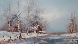 'Snowy landscape', oil on canvas signed 'Striccoli', framed (59x90 cm).