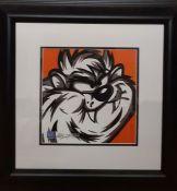 "Allison Lefcort (b.1975) American, ""Taz"", a hand signed lithograph, COA verso, framed and glazed, ("
