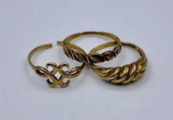 Three 9 ct gold rings (5.1 g Total Weight)