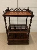 A Regency mahogany Canterbury/Whatnot, divided by turned spindles and drawers below (H78cm W57cm