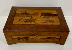 An inlaid wooden box with a savanna theme to the top and sides