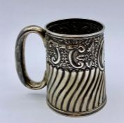 A small silver tankard by Hayes Brothers, Birmingham 1878, with Booboo engraved on the cartouche.(
