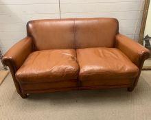 Two seater 'Burlington' leather Laura Ashley settee (W160cm)