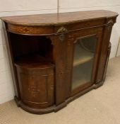 A Victorian D-Shaped side cabinet or Credenza. Applied with brass moldings and inlay, with a