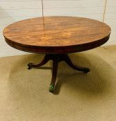 A William IV style rosewood breakfast table, the circular top with egg moulding on edge (Dia 128cm)
