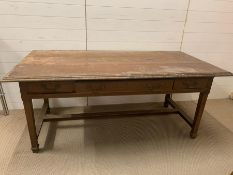 Arts and Crafts oak library table with three drawers (H75cm W182cm D90cm)