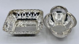 Two small pierced silver bowls, one by Synyer & Beddoes and the other by Martin Hall & Co Ltd (95g