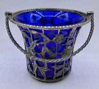 A WMF bonbon bowl with blue glass liner