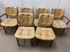 Six Mid Century button back faux leather and teak 70's dining chair