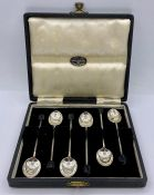 A Boxed set of silver, coffee spoons by Walker & Hall, hallmarked for 1951