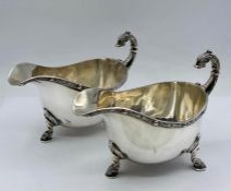 A Pair of Harrods silver sauce boats, hallmarked for Birmingham 1937 (Total Weight 426g)