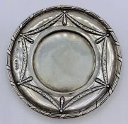 A Chester hallmarked pin dish, with swag decoration, 1900. (Dia 9.5cm)
