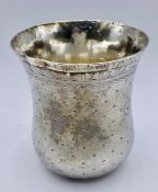A silver beaker with mark to base, E, spade, c see photo in catalogue (48g)