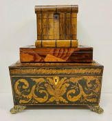 A tea caddy and two other boxes