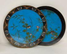 Two cloisonné metal work enamel plates AF (Dia 30cm)