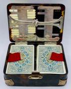 A Rare W Thornhill & Company, 64 New Bond Street, tortoiseshell and silver games or bridge box