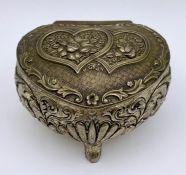 A Japanese white metal trinket box