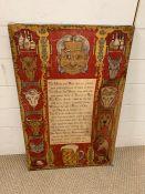 A vintage framed cloth poem (H76cm W49cm)