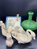 A selection of china items including an interesting green vase