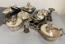 A Large collection of silver plated items to include tureens, stands, serving dishes etc.