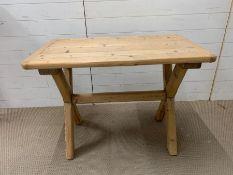 An X Frame Pine Table (H74cm W100cm D60cm)