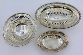 Three small pierced silver bowls with various hallmarks and makers (146g)