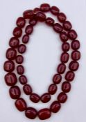 A Cherry Amber graduated necklace (260g)
