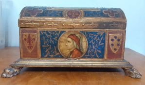 """A gilded wooden treasure chest with three lion paw feet, and """"The Spring"""" after Botticelli, Dante'"""