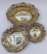 Three silver decorative bowls with pierced decoration, various hallmarks 82g Total weight