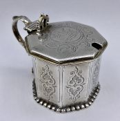 A single silver salt with hinged lid and blue glass liner by Charles Thomas Fox & George Fox,