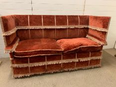 A William and Mary style Knowle settee, rectangular shape with profile arms topped by padded and