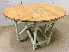 A painted barley twist leg kitchen table (H74cm W120cm)