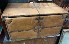 A Leather trunk with stud work