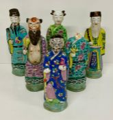 A selection of six 19th Century Chinese figures of Immortals (One AF needs head re-attaching)