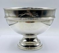 A Hallmarked silver bowl with the figure of a greyhound chased to top rim, 1967 541g total weight