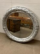 A Laurel Leaf themed, plaster circular mirror (Dia 115cm)