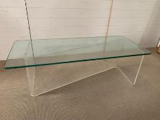 A Mid Century Perspex Z frame coffee table with glass top (H46cm W134cm D59cm)