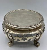 A Walker and Hall Oriental silver plated vase stand.