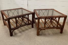 Two Bamboo glass topped side tables 57 cm sq by 41 cm high