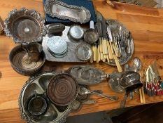 A large selection of silver plate, mostly tableware