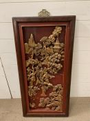 A carved wall hanging Japanese plaque (93cm x 45cm)