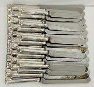 A set of silver handled knifes, 12 large, 12 small and 15 smaller with Alpha mark to blade and