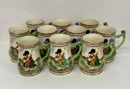 A collection of ten Highland military china mugs
