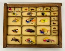 A selection of framed fly fishing hooks