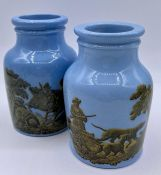 A pair of small Victorian pots with a hunting theme