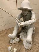 A garden plaster model of a child fishing (H46cm W40cm)