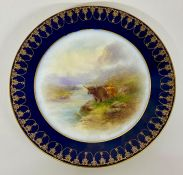 Two hand painted Royal Worcester plates with Highland Cattle, for HG Stephenson Ltd Manchester