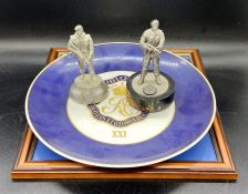 Four items of Royal Engineers memorabilia, to include a plate, silk and two figurines.